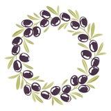 Corona rotonda dell'ornamento delle olive nere Fotografie Stock Libere da Diritti