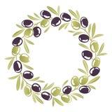 Corona rotonda dell'ornamento delle olive nere e verdi Immagini Stock Libere da Diritti