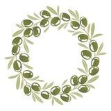Corona rotonda dell'ornamento delle olive verdi Fotografie Stock
