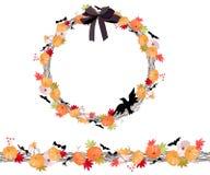Corona rotonda di Halloween con i pumkins isolati su bianco Spazzola orizzontale senza fine del modello Fotografie Stock
