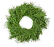 Corona sempreverde del pino della decorazione verde tradizionale di natale fotografie stock