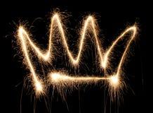 Corona sparkler. Corona crown sparkler on dark Stock Photography