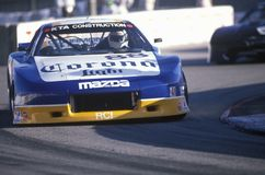 A Corona sponsored blue and white Mazda Trans AM in the Toyota Grand Prix Car Race in Long Beach, CA Royalty Free Stock Image