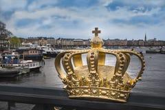 Corona svedese dorata Immagine Stock
