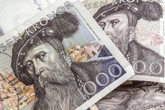 Corona svedese svedese di valuta -1000 Fotografie Stock Libere da Diritti