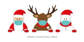 Corona virus christmas 2020 design with cute deer santa claus and snowman cartoon