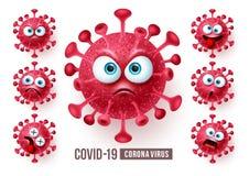 Corona virus covid19 emoji vector set. Covid19 corona virus emojis and emoticons