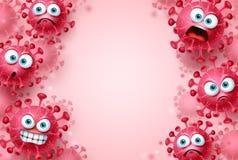 Corona virus covid-19 vector background template. Corona virus covid19 emojis and emoticons