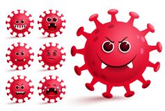 Free Corona-virus Emojis Vector Set. Red Covid-19 Virus Smiley Emojis And Emoticons. Stock Image - 183041201