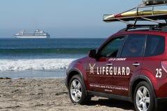 Coronado Beach Lifeguard, Ocean And Cruise Ship Royalty Free Stock Photography