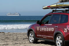 Coronado Beach Lifeguard, Ocean and Cruise Ship Royalty Free Stock Photography