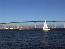 Coronado Bridge. Sailing in San Diego bay Royalty Free Stock Image
