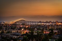 CORONADO BRIDGE 1 AT SUNSET SAN DIEGO, CALIFORNIA FROM GRANT PARK stock images