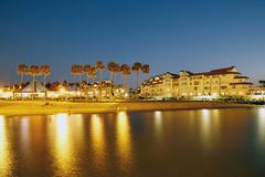 Coronado island night scene. Coronado island with luxury historic hotels at night, San Diego, south California royalty free stock photos