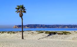 Coronado-Strand gerade außerhalb San Diegos, Kalifornien lizenzfreies stockbild