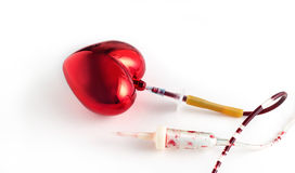 Coronary artery, and heart blood infusion set, Medical symbol concept Royalty Free Stock Photo
