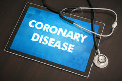 Coronary disease (cardiology related) diagnosis medical concept. On tablet screen with stethoscope Royalty Free Stock Photo