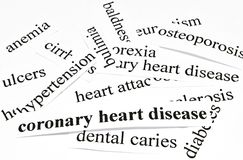 Coronary heart disease. Health care concept of diseases caused by unhealthy nutrition Royalty Free Stock Photos