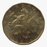 20 coronas checas de moneda Foto de archivo libre de regalías