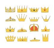 Coronas con las gemas y diamantes fijados Un símbolo de la autoridad Casco del rey Icono que denota éxito e insignias Corona del  libre illustration