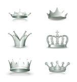 Coronas de plata, conjunto Fotos de archivo