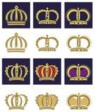 Coronas reales fijadas fotografía de archivo libre de regalías