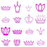 Coronas rosadas tiara diadem Corona del bosquejo Tiara exhausta de la reina de la mano, corona del rey Símbolos imperiales reales stock de ilustración