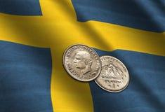 Coronas suecas en la bandera Imagen de archivo libre de regalías