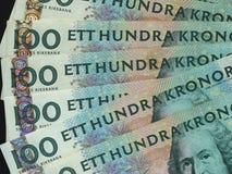 100 coronas suecas y x28; SEK& x29; notas, moneda de Suecia y x28; SE& x29; Fotografía de archivo libre de regalías