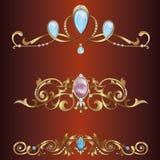 Coronas y fronteras de oro del vector stock de ilustración
