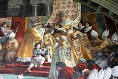 Charlemagne coronation. The coronation of charlemagne in a fresco of raphael in the vatican museum at rome Royalty Free Stock Photos