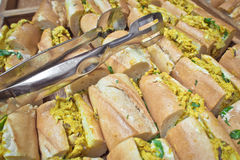 Coronation chicken baguettes Stock Photography
