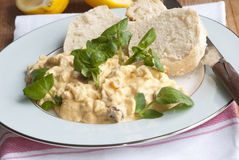 Coronation chicken salad. Fresh Coronation chicken salad with watercress and baguette on a plate Royalty Free Stock Photos