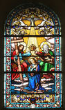 Coronation of Mary. Stained glass church window Stock Photography