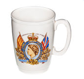 Coronation mug from Queen Elizabeth crowning Royalty Free Stock Photography