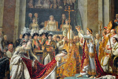 Coronation of Napoleon. Painting, coronation of napoleon at the musée du louvre Stock Photography