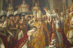 The Coronation of Napoleon by Jacques Louis David, 1808 at the Louvre Museum, Paris, France, Oil on Canvas Stock Photography