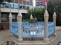 Coronation Stone, Kingston Upon Thames, England, United Kingdom. The Coronation Stone, the site at which seven Anglo-Saxon Kings were crowned in the 10th stock image