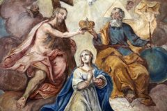 Coronation of the Virgin Mary. Fresco on the ceiling of the Church of Our Lady of Sorrows in Rosenberg, Germany Royalty Free Stock Photos