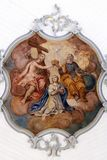 Coronation of the Virgin Mary. Fresco on the ceiling of the Church of Our Lady of Sorrows in Rosenberg, Germany Stock Image