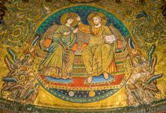 Coronation of the Virgin, mosaic by Jacopo Torriti in the Basilica of Santa Maria Maggiore in Rome, Italy. royalty free stock photography