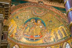 Coronation of the Virgin, mosaic by Jacopo Torriti in the Basilica of Santa Maria Maggiore in Rome, Italy. The Basilica di Santa Maria Maggiore, or church of royalty free stock images