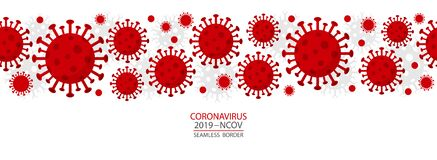 Free Coronavirus - 2019 - NCoV. Covid 19 Seamless Banner With Coronavirus Bacteria Cell Icons. Royalty Free Stock Photo - 177684755