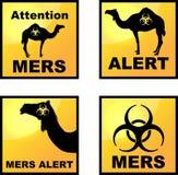 Coronavirus alert icons tags. Set of vector Coronavirus alert icons  with dromedary silhouette Royalty Free Stock Photography