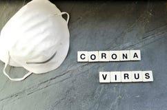 Coronavirus background with antivirus mask on black