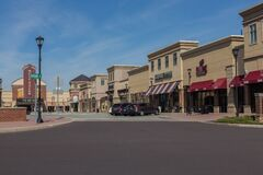 Coronavirus COVID-19, Large retail town almost deserted on bright day, Collegeville, PA,  March 16, 2020
