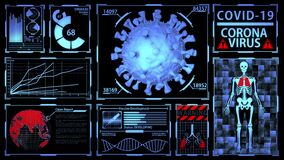 Coronavirus/Covid-19 3D Model Rendering in Futuristic Digital Medical HUD with Epidemic Detection, Vaccine Development process and
