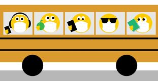 Coronavirus, covid 19, social distancing, emoji wearing face masks on yellow bus. Wear a face mask text