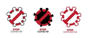 Coronavirus covid-19 stop icon set. Stop sign for a dangerous virus. Infographic element. Symbol, logo, vector illustration
