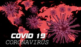 Coronavirus Covid 19 Worldwide alert text & map